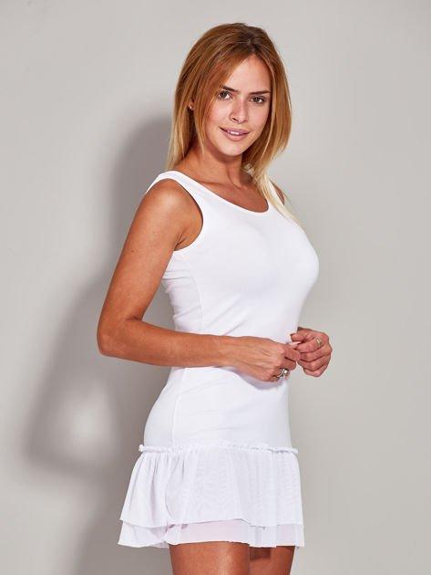 Biała tunika z tiulową falbaną                                  zdj.                                  5