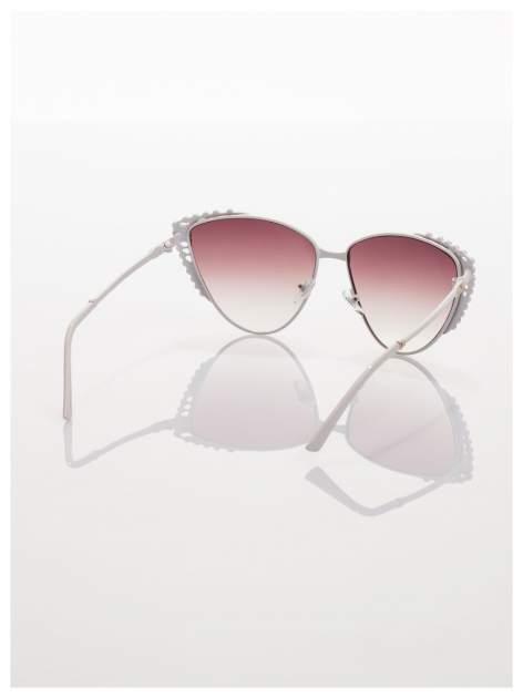 Białe KOCIE OCZY okulary przeciwsłoneczne z cyrkoniami w stylu RETRO                                   zdj.                                  4
