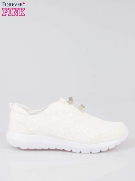 Białe brokatowe adidasy ściągane na troczek