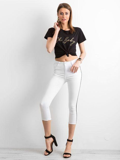 Białe jeansy skinny z lampasem                              zdj.                              4