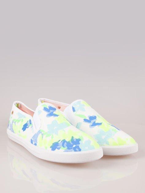 Białe kwiatowe buty slip-on                                  zdj.                                  2