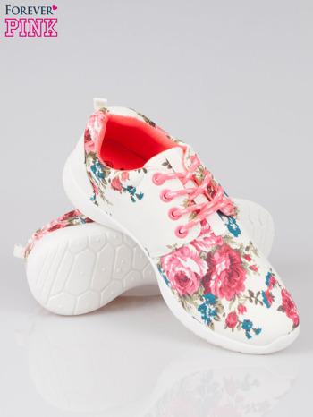Białe kwiatowe buty sportowe Bring It On na podeszwie flex                                  zdj.                                  4