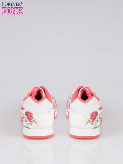 Białe kwiatowe buty sportowe faux leather Carry On w stylu casual                                  zdj.                                  3