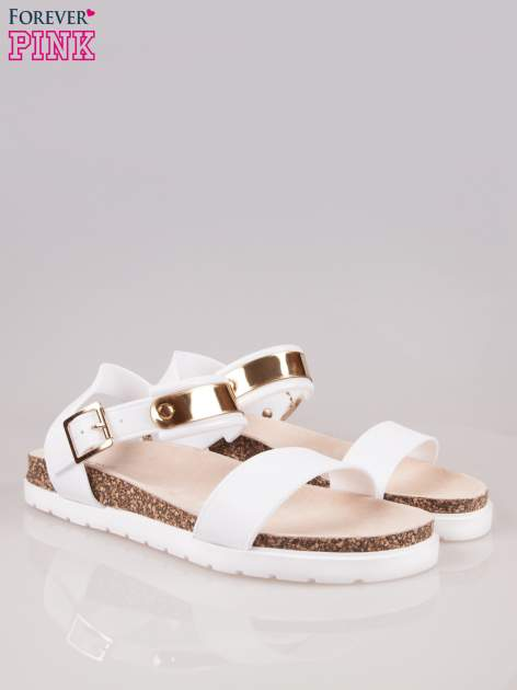 Białe sandały z blaszką na korkowej podeszwie                                  zdj.                                  2