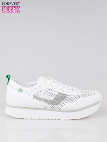 Białe siateczkowe buty sportowe textile High Level na platformie                                  zdj.                                  1