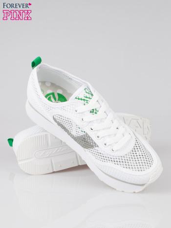Białe siateczkowe buty sportowe textile High Level na platformie                                  zdj.                                  4