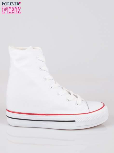 Białe sneakersy trampki damskie na koturnie                                  zdj.                                  1