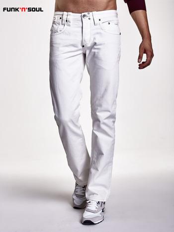 Białe spodnie męskie z ozdobnymi napami Funk n Soul