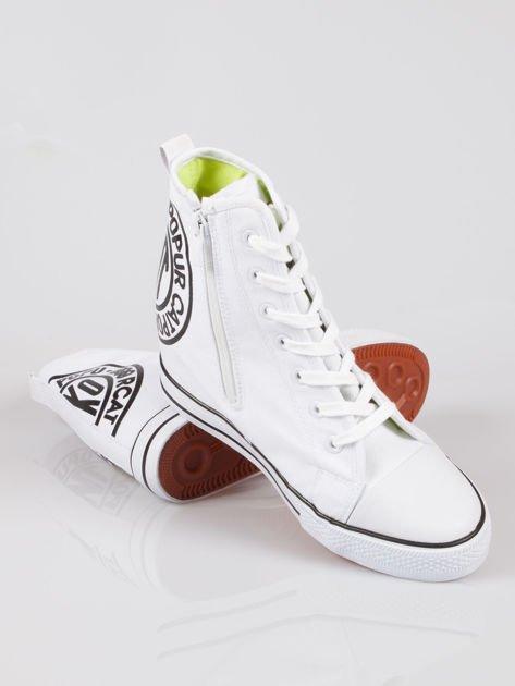 Białe trampki na koturnie sneakersy z logo Joann                                  zdj.                                  4
