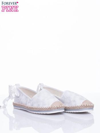 Białe wiązane espadryle lace up                                  zdj.                                  3