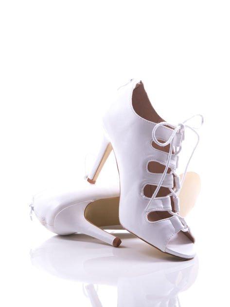 Białe wiązane sandały typu gladiatorki Dion                                  zdj.                                  3