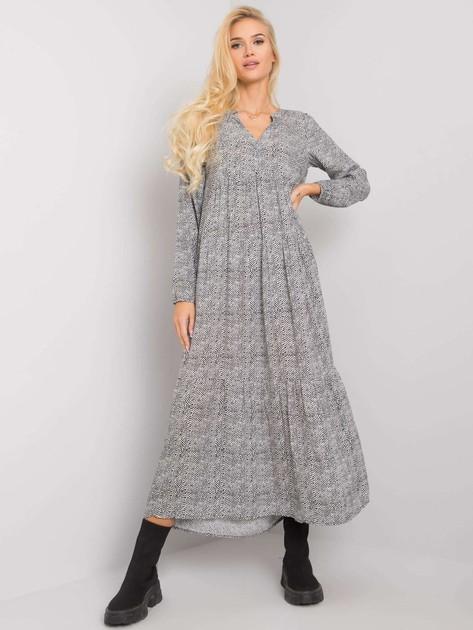 Biało-czarna długa sukienka we wzory Geri