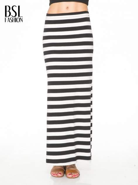 Biało-czarna spódnica maxi w pasy