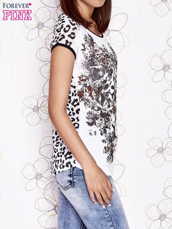 Biało-czarny t-shirt z zwierzęcymi motywami                                  zdj.                                  3
