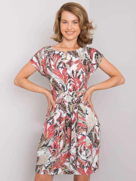 Biało-czerwona sukienka we wzory Alizia RUE PARIS