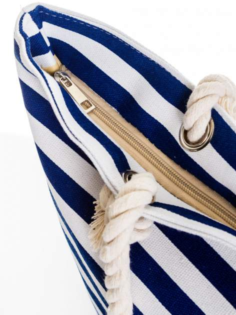 Biało-granatowa torba plażowa w paski                                  zdj.                                  6
