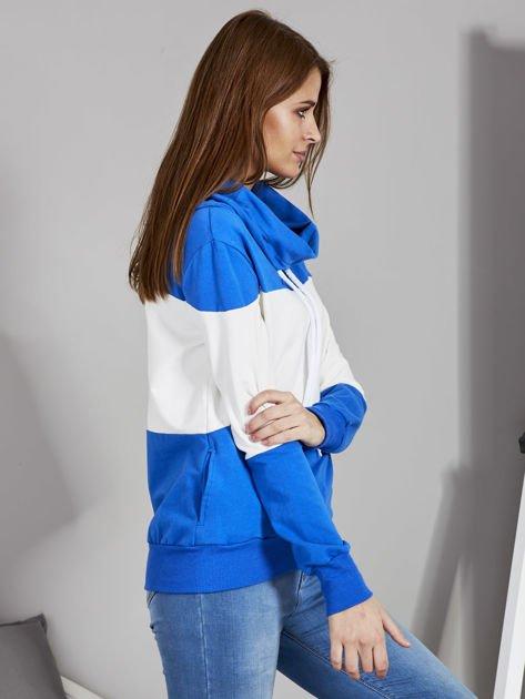 Biało-niebieska modułowa bluza damska z troczkami                              zdj.                              5