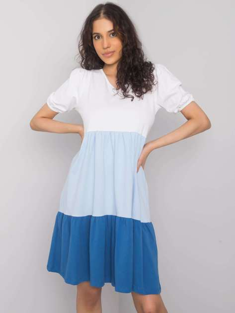 Biało-niebieska sukienka na co dzień Kylie RUE PARIS
