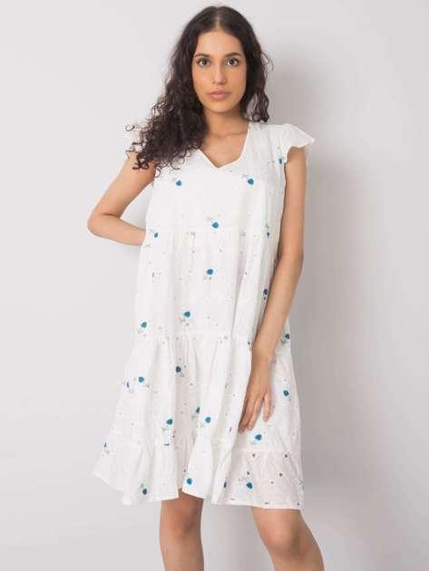 Biało-niebieska sukienka na co dzień Miranda