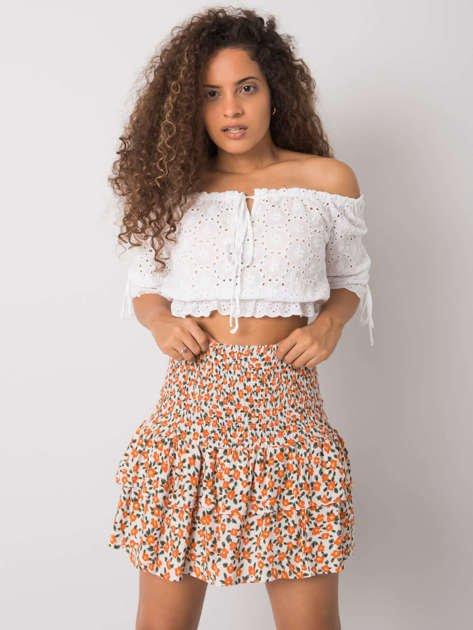 Biało-pomarańczowa spódnica z falbaną Cyndi RUE PARIS