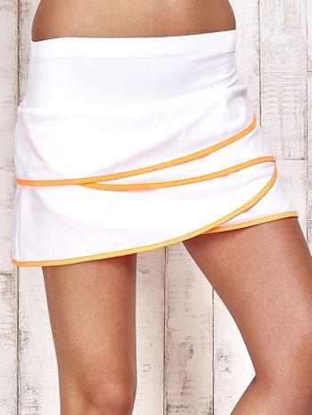 Biało-pomarańczowe spodenki spódniczka tenisowa z falbankami                                  zdj.                                  4