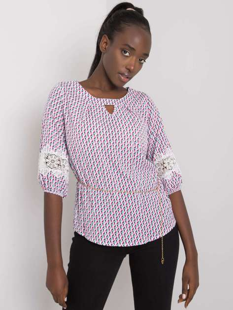 Biało-różowa bluzka we wzory Jazmin