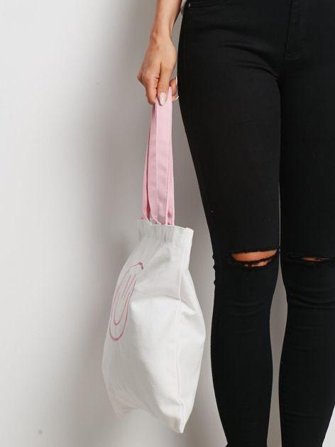 Biało-różowa torba materiałowa                              zdj.                              2