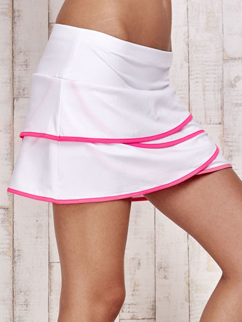 Biało-różowe spodenki spódniczka tenisowa z falbankami                                  zdj.                                  5