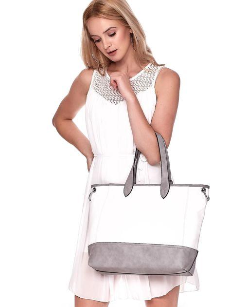 Biało-szara torba shopper z eko skóry z odpinanym paskiem                              zdj.                              4
