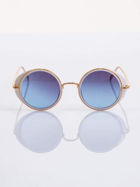 """Biało-złote okulary przeciwsłoneczne """"LENONKI"""" w stylu RETRO                                   zdj.                                  2"""