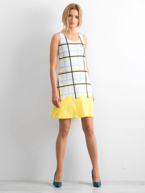 Biało-żółta sukienka w kolorową kratę                              zdj.                              4