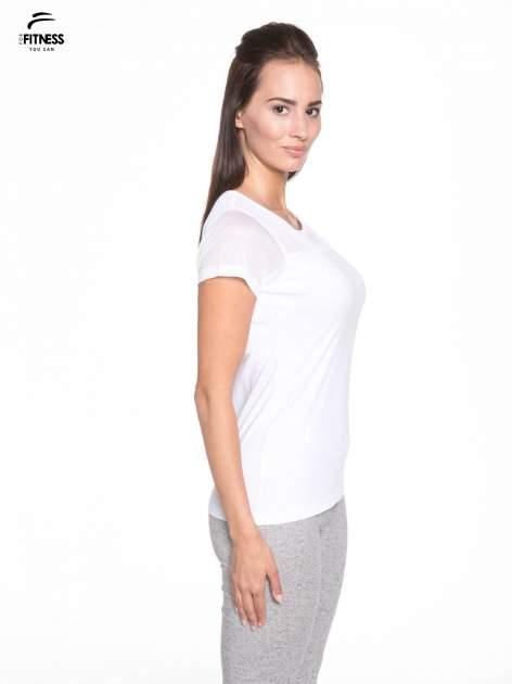 Biały bawełniany t-shirt z siateczką                                  zdj.                                  3