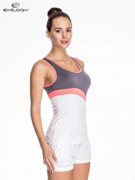 Biały damski top sportowy z szaro-różowym modułem                                  zdj.                                  3