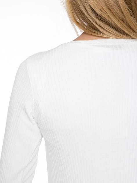 Biały długi prążkowany sweter kardigan                                  zdj.                                  8