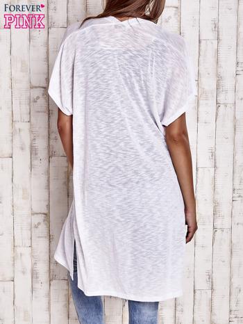 Biały długi sweter z krótkim rękawem                                  zdj.                                  2