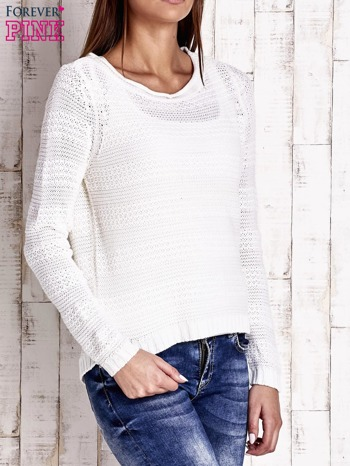 Biały dziergany sweter                                  zdj.                                  3