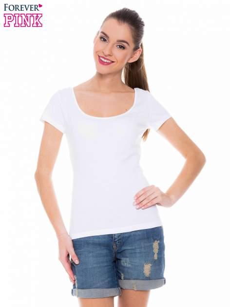 Biały gładki t-shirt z marszczeniem z tyłu                                  zdj.                                  1
