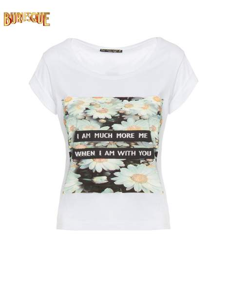 Biały krótki t-shirt z nadrukiem stokrotek i napisem                                  zdj.                                  6