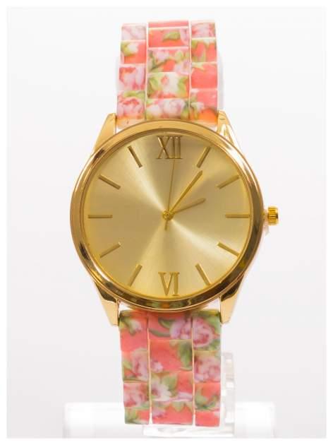 Biały kwiatowy zegarek damski ze złotą tarcżą