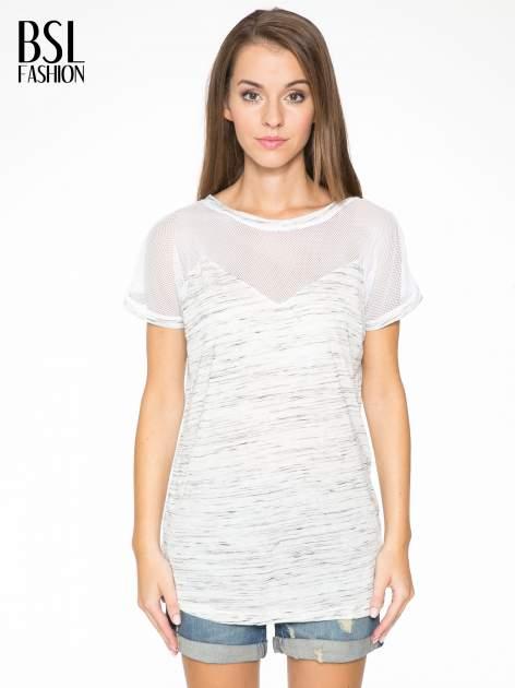 Biały melanżowy t-shirt z transparentną górą                                  zdj.                                  1