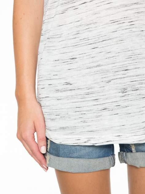 Biały melanżowy t-shirt z transparentną górą                                  zdj.                                  7
