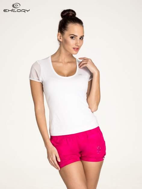 Biały panterkowy t-shirt sportowy PLUS SIZE                                  zdj.                                  1