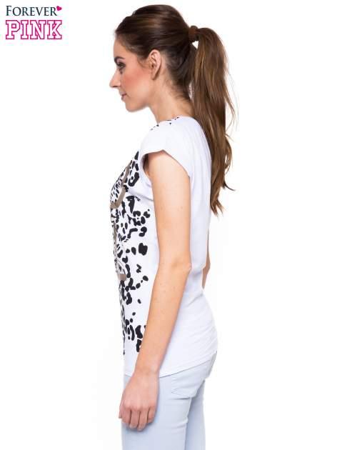 Biały panterkowy t-shirt ze złotym nadrukiem WILD SOUL                                  zdj.                                  2
