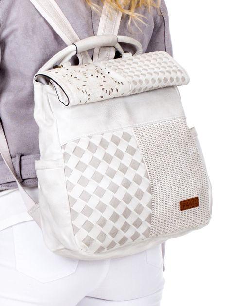 Biały plecak damski z eko skóry z plecionką i ażurowaniem                              zdj.                              2
