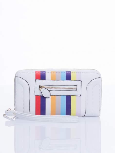 Biały portfel w paski z kieszonką                                  zdj.                                  2