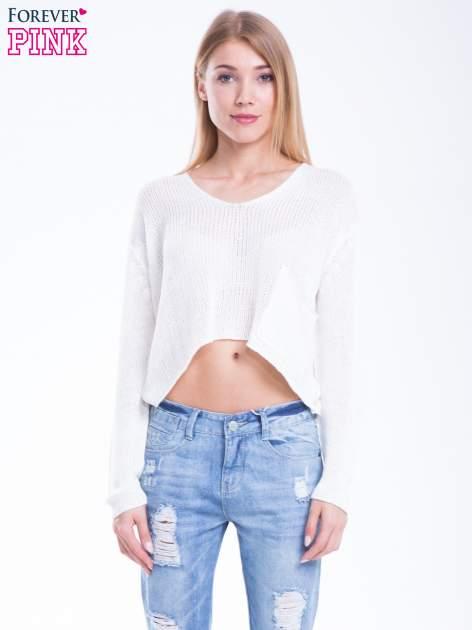 Biały siatkowy sweter typu crop top