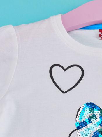 Biały t-shirt dla dziewczynki z cekinami MYSZKA MIKI                                  zdj.                                  3