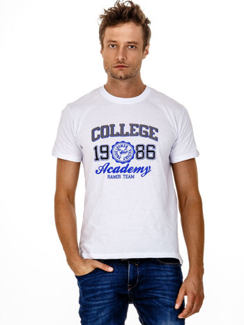 Biały t-shirt męski z nadrukiem i napisem COLLEGE 1986                                  zdj.                                  2