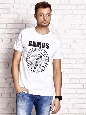 Biały t-shirt męski z napisem RAMOS i nadrukiem                                  zdj.                                  1