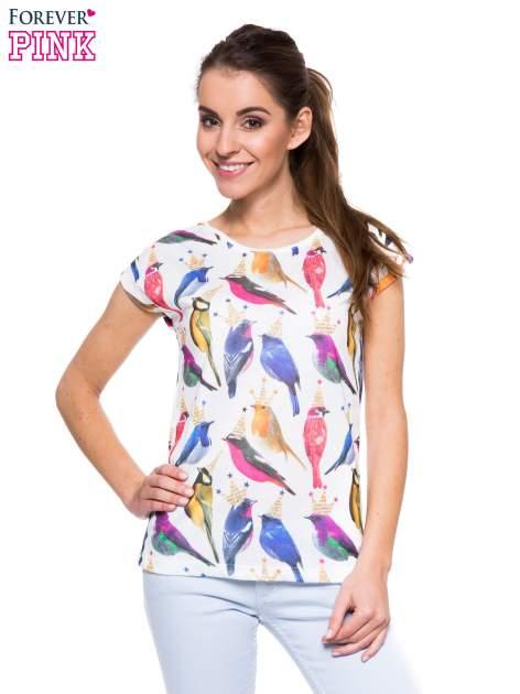 Biały t-shirt w kolorowe ptaszki                                  zdj.                                  1